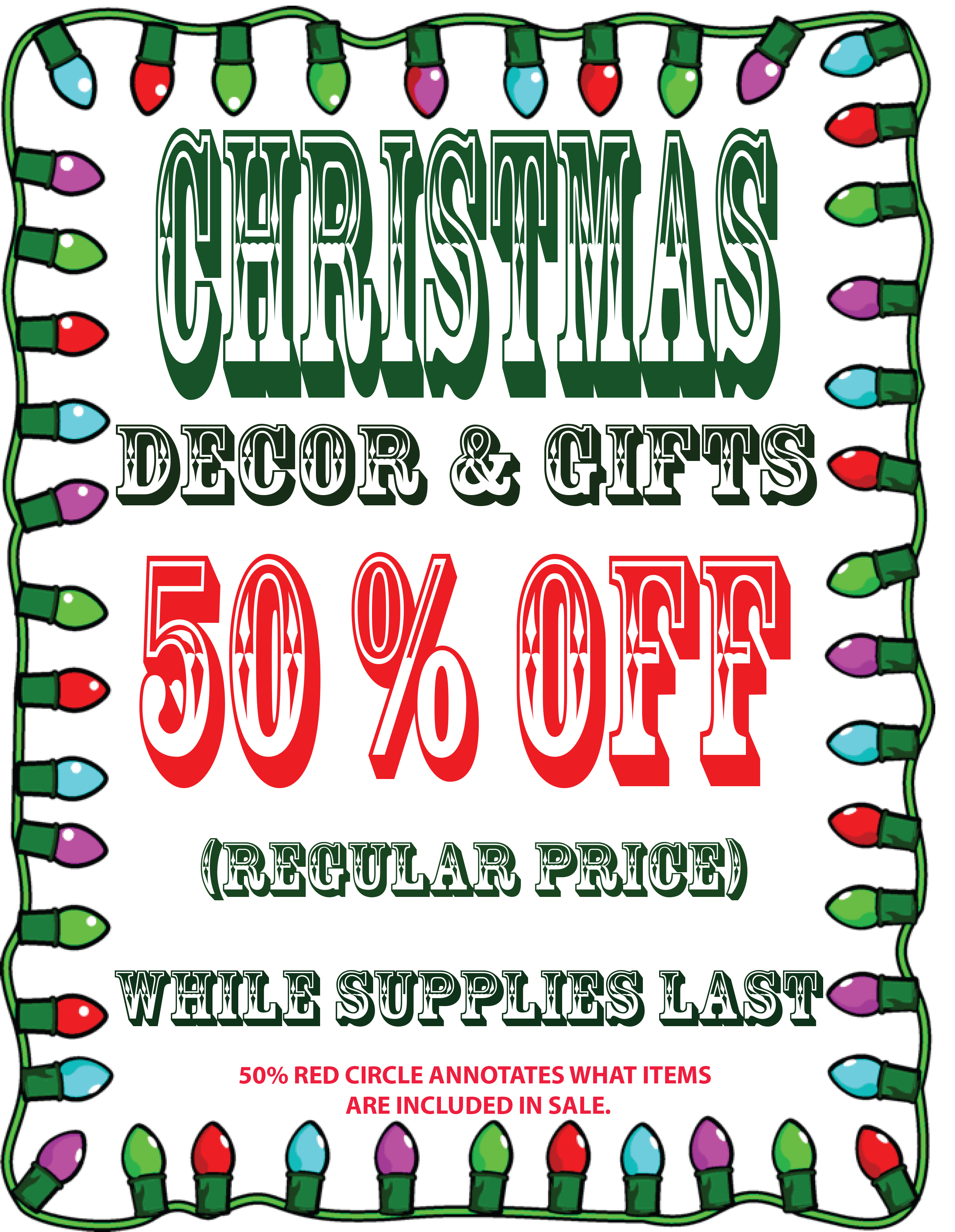 Christmas decorations 50 off sneade 39 s ace home centers for Christmas sale items