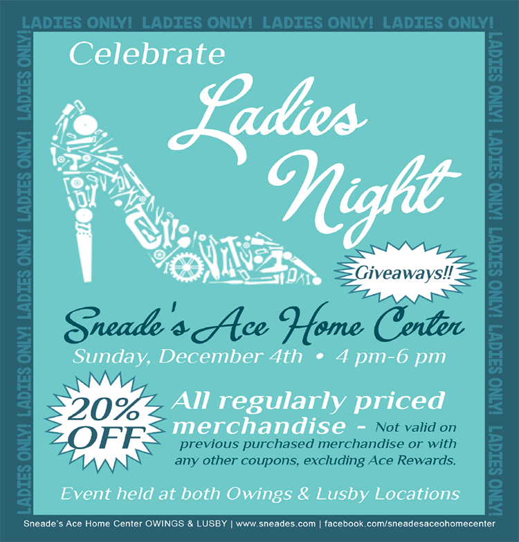 ladies night poster at sneades ace